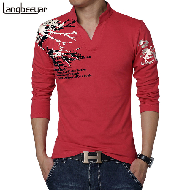 Fashion Brand Print Slim Fit Long Sleeve T Shirt