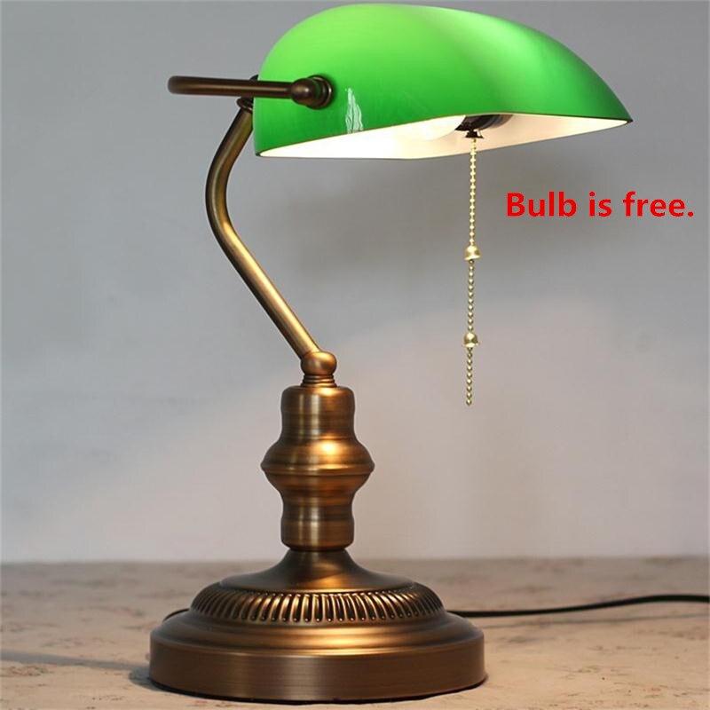 LED Bureau Lampe E27 Powerbank Table Lumineuse Bureau Lamparas Escritorio Lecture Lampes Émeraude Vert Verre Bureau Interrupteur à Tirette Lampes