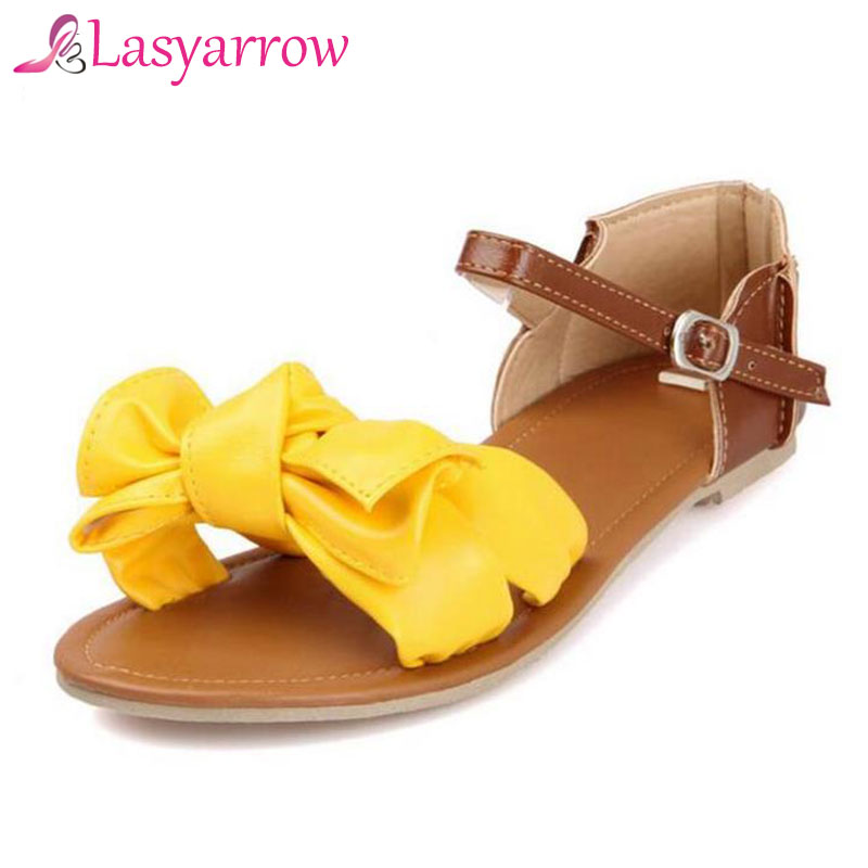 Lasyarrow New Arrival Big Size 31-45!!! Colorful Fashion Summer Sweet Women Flat Sandals Casual Butterfly-knot Woman Shoes P813 hee grand soft transparent jelly women sandals flat with crystal colorful rhinestones butterfly knot beach shoes xwz3446