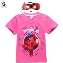 Milagrosa Mariquita Camisetas Bobo Choses Camisetas Para Niñas Disfraces Cosplay Ropa Para Niños Chicas Camisetas Mariquita Marinette Máscara Tops(China (Mainland))