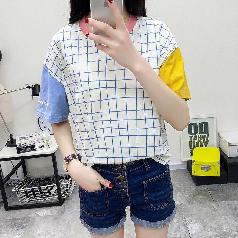 Plaid Fashion T-shirts 2019 Korean Style Kawaii Splice T Shirts Harajuku Geek Streetwear Checkerboard