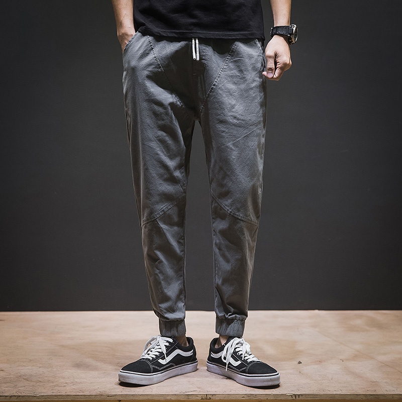 Male Pants Trousers Man Joggers Elastic Casual Breathable Solid-Color Men
