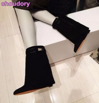Hot Selling Ladies Mid-calf Boots Metal Shark Lock Decoration Middle Boots Wedge Heel Height Increasing Shoes Fold Over Boots