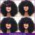 Curto Afro Crespo Encaracolado Peruca Dianteira Do Laço Brasileiro Virgem Peruca Bizarro Curly Cabelo Humano Sem Cola Cheia Do Laço Perucas de cabelo humano Com Franja
