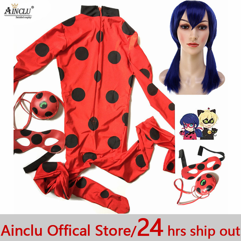 Costume Lady Bug kids Costumes Girls Women Children Girl Spandex Miraculous Ladybug Cat Noir Adult Romper Halloween Fancy Dress