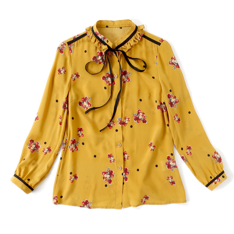 Blusas Moda Real Alta Delgado Tops Temperamento Womens R5155 Camisa De Impresión Y Línea Yellow Cuello Calidad Seda Nueva Verano 2018 xOqIOFU
