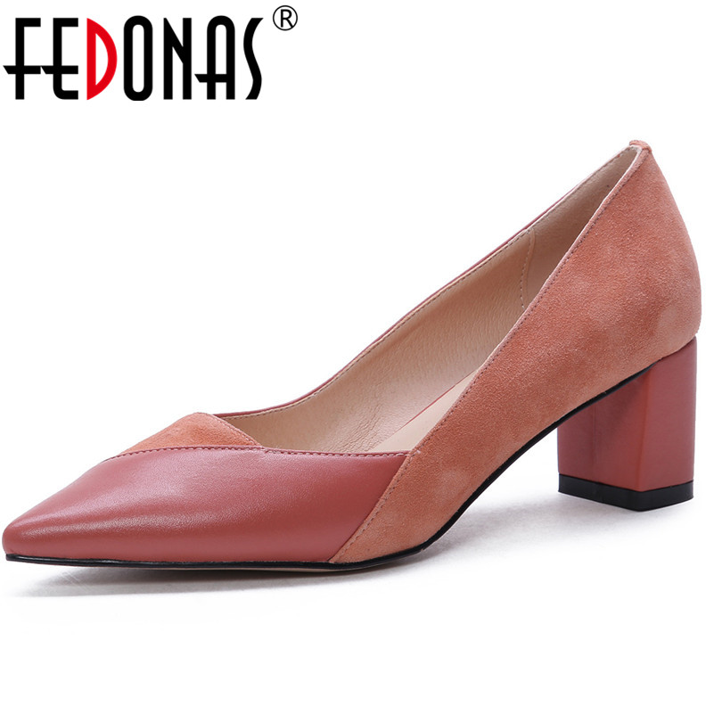 FEDONAS High Quality Cow Leaether Pumps For Woman New Arrival Squqre High Heels Concise Pumps Fashion Basic Casual Shoes WomanFEDONAS High Quality Cow Leaether Pumps For Woman New Arrival Squqre High Heels Concise Pumps Fashion Basic Casual Shoes Woman