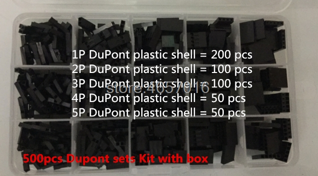 500 stücke Dupont sets Kit mit box 2,54mm Pitch 1 P 2 P 3 P 4 P 5Pin Dupont gehäuse Kunststoff Shell Terminal Jumper Draht Stecker set