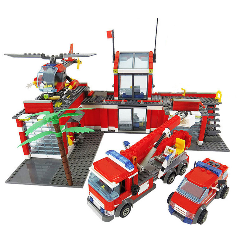 LEPIN 02052 City Series Fire Station Compatible with 60110 Fireman Model Educational Building Blocks DIY Toys for Children Gift lepin 15004 2313pcs city creator series fire brigade model building blocks bricks toys for children gift compatible 10197