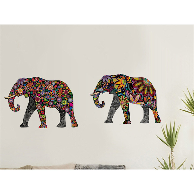 Elephant Flower Pattern Wall Sticker Removable Decal Home Decor Wallpaper  Ethnic Unique Style PVC Living Room Decor ...