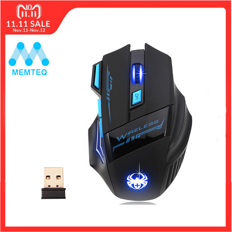 купить MEMTEQ 2.4G Wireless Mouse Optical Mouse 5 Buttons 2400DPI Computer Wireless Gaming Mouse LED Nighthawk F14 7D Gaming Mouse LED по цене 784.15 рублей