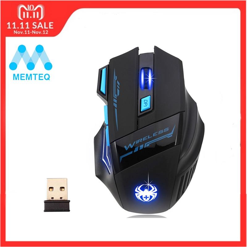 лучшая цена MEMTEQ 2.4G Wireless Mouse Optical Mouse 5 Buttons 2400DPI Computer Wireless Gaming Mouse LED Nighthawk F14 7D Gaming Mouse LED