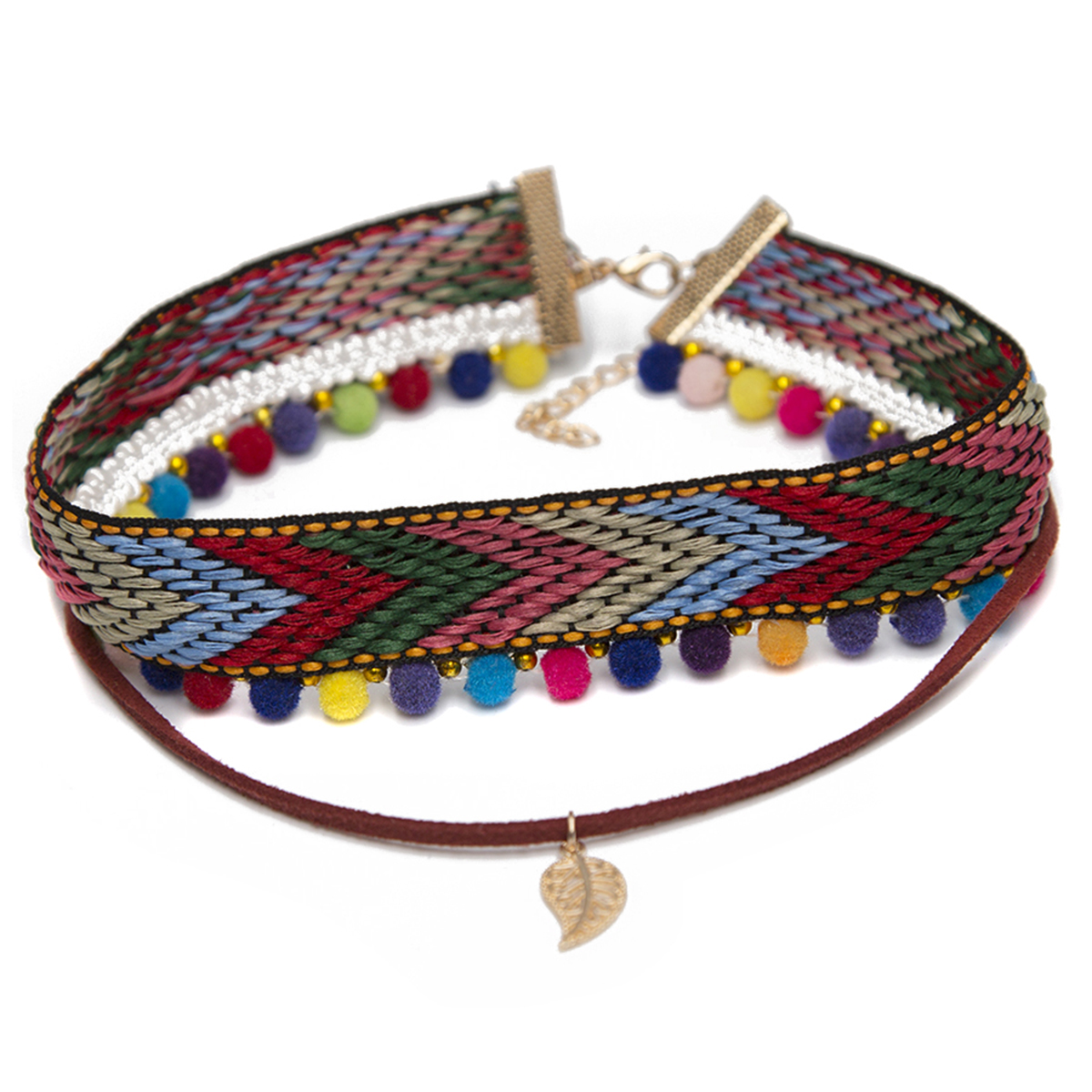 Ethnic Women Chain Leaf Pendant Necklaces Bohemian Woven Cloth Leather Rope Collar Choker Necklace Femme Jewellery Shellahrd ...