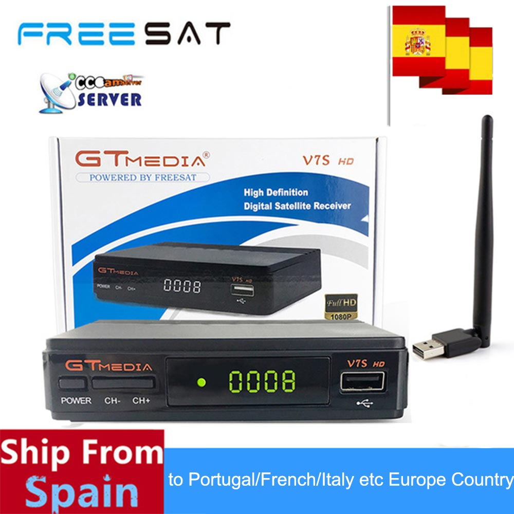 GTMEDIA V7S 1080 p V7S HD DVB-S2 freesat V7S Satellite TV Récepteur Soutien PowerVu Biss Key Européenne Cclines via usb wifi