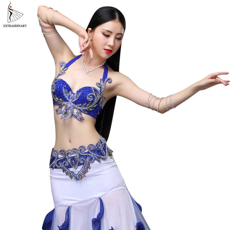 New Women Belly Dance Set Costume Stage Orientale Bra Beads Sexy Night Dance Carnival Tops Belt Clothes Eastern Style Outfits