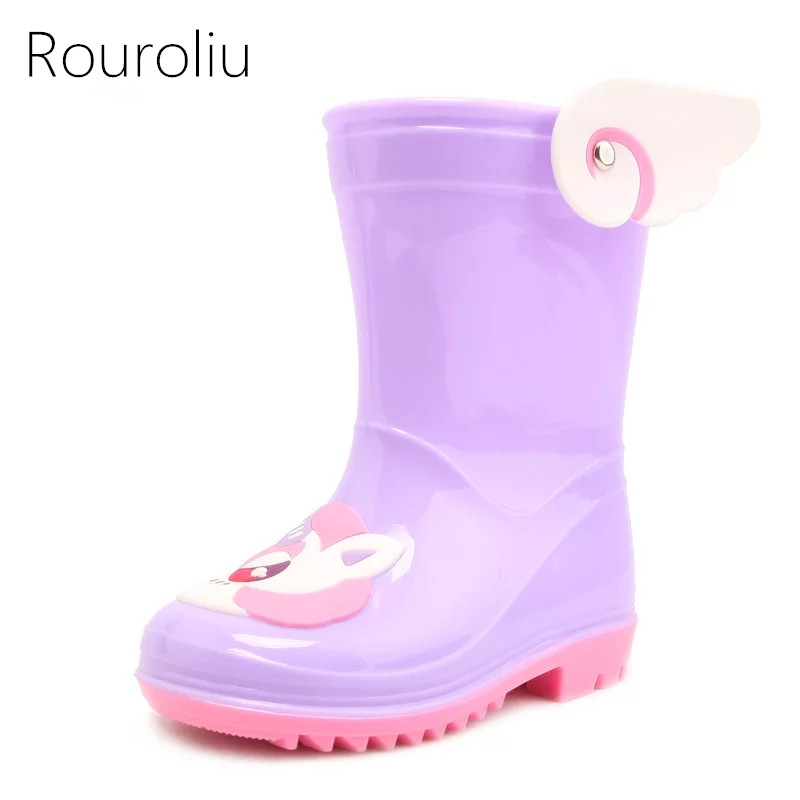 Rouroliu Baby Boys Girls Comfortable Non Slip PVC Water Shoes Kid's Cute Fashion Waterproof Mid Calf Cartoon Rain Boots CR5
