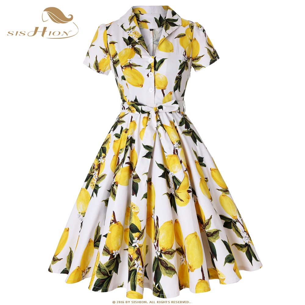 SISHION New Cotton White with Yellow Lemon Dress Short Sleeve Tunic vestidos Elegant 50s 60s Retro Swing Vintage Dress SD0002(China)