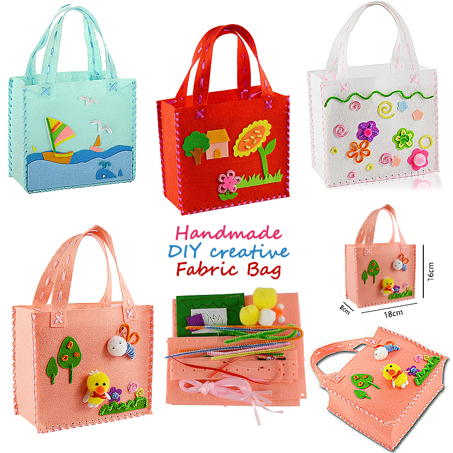 First Sewing DIY Non-woven Felt Fabric Cloth Kit Assorted Design Sewing Pattern Bag Handbag Art & Crafts Educational Toy for Kid