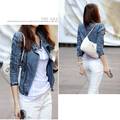 2016 Fashion Denim Jacket Female Large Lapel Zipper Short Coats Long-Sleeve Slim Motorcycle Jaqueta XL Blue