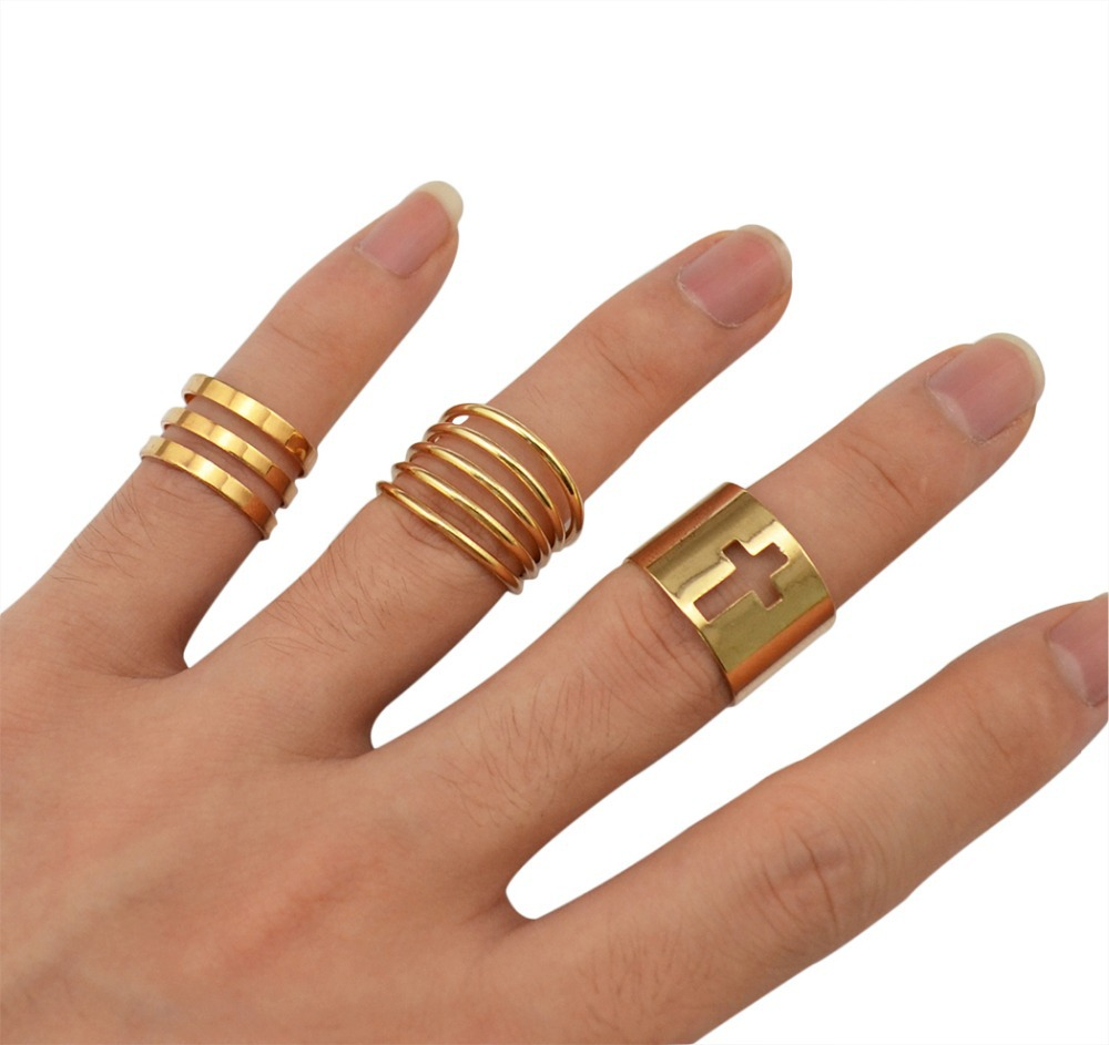 New European Fashion Punk Knuckle Rings Polish Gold Midi Mid Finger Ring Set for Women Rock Rings Jewelry Free Shipping