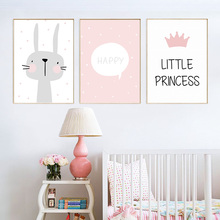 Pink Cartoon Poster Rabbit Nordic Canvas Paintings Baby Girl Room Decor Wall Art Paintings Nursery Prints Picture Unframed posters and prints kids room cartoon rabbit paintings wall decor picture poster nursery wall art nordic poster pink unframed
