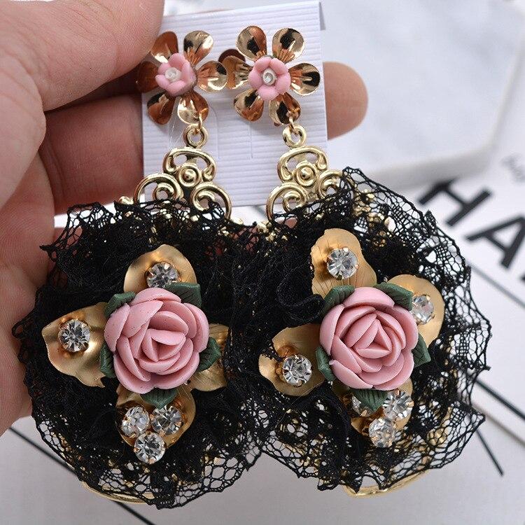Smycken Mode Droppörhängen Söta blommor Pendientes sten svart spets harts Dangle örhängen för kvinnor parti gratis frakt