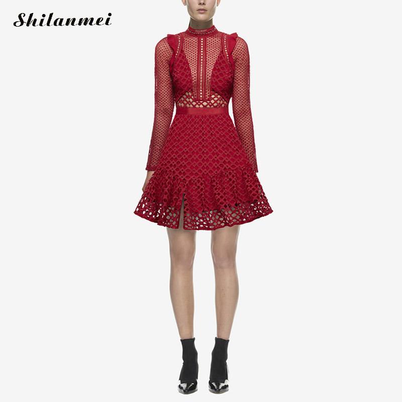 2017 Self Portrait dress red black long sleeve autumn women heavy lace dress sp vintage flower pattern hot party dress clothes