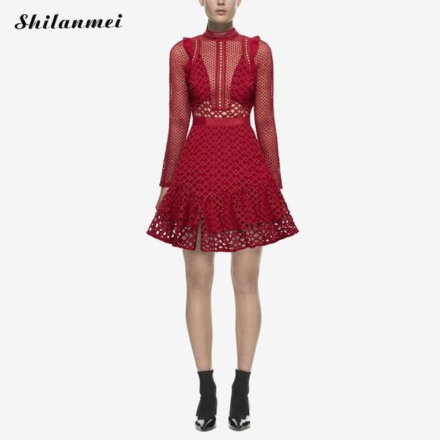 detailed look 36f93 ab000 US $33.99 |2017 Self Portrait vestito rosso nero manica lunga autunno donna  pesante abito di pizzo sp vintage modello di fiore vestito da partito ...