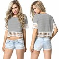 free shipping 2015 Summer Style brand t shirt women harajuku striped printed crop top white black casual tee 51