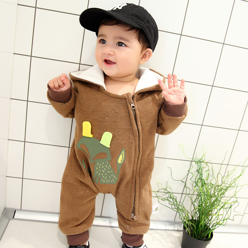New Born Baby Boy Rompers Coffee Color Animal Fox Outfit Clothes Set Age 0-18M Clothes Baby Girl Winter Clothes Baby Jumpsuit 2pcs set baby clothes set boy