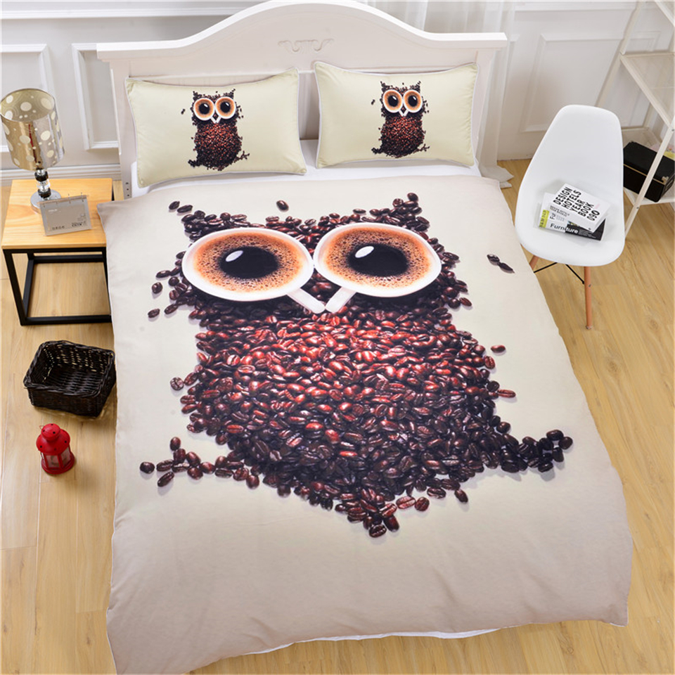 3D Cute Owl Bedding Set Single Size Coffee Beans Printed Duvet Cover with Pillowcases Soft Quilt Cover 3pcs cartoon bedclothes3D Cute Owl Bedding Set Single Size Coffee Beans Printed Duvet Cover with Pillowcases Soft Quilt Cover 3pcs cartoon bedclothes