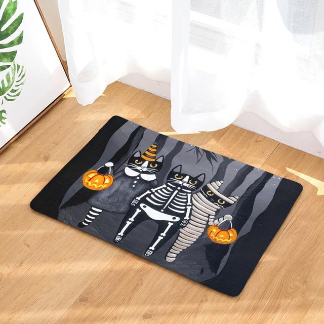 anti slip floor carpets creative cat halloween animals print bathroom kitchen entrance rugs home decoration mats
