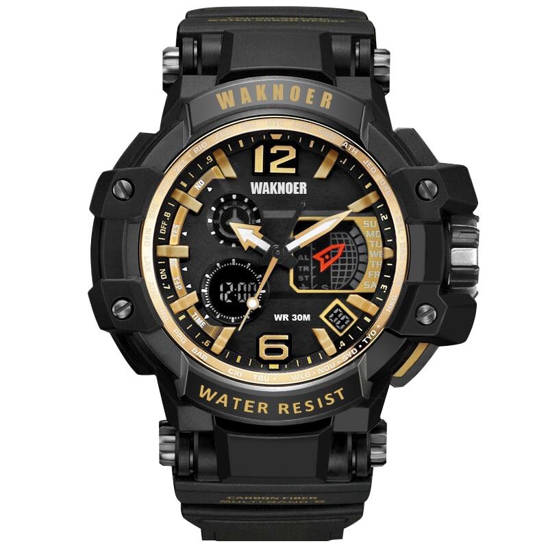 WAKNOER Double Display Digital Relogio Masculino Men's Watch Fashion Sport Watch Date Calendar LED Electronics Watches saat 017