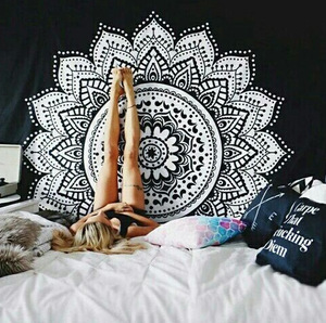 Image 1 - Nuevo estampado de tapiz de loto mándala Bohemia, tapiz colgante de pared para decoración de pared, tapiz Hippie, estera de playa, estera de Yoga