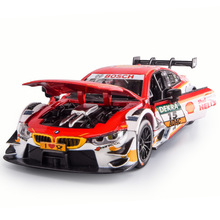 1:32 Diecast Alloy Car Model Toys For Bmws M4 With Pull Back Function Electronic Toy Simulation Light And Music Kid Gif