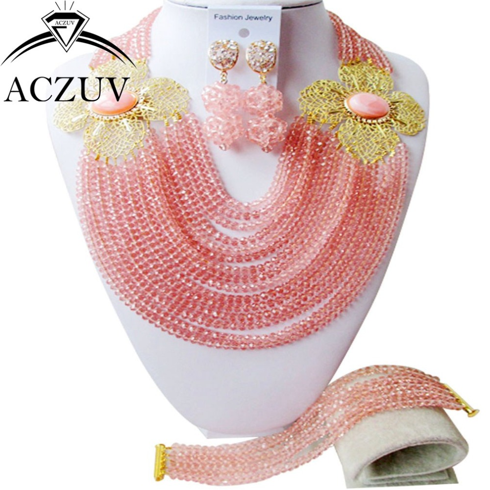 Модные украшения комплект Персик кристалл Бусины Цепочки и ожерелья Клипсы и браслет an014