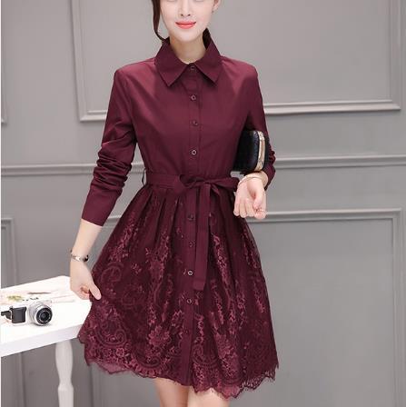 Turn-Down Collar Lace Button Women Dress Sashes Full Sleeve Elegant Ladies Dresses Work Office Femme Vestidos Z525