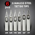 6pcs Stainless Steel Tattoo Tip Set - 3R 5R 7R 9R 5F 7F