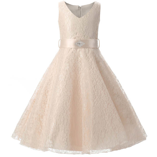 9656cf79122eb Champagne Baby Girls Frocks Designer Baby Clothes Girls Children Princess  Kids Events Party Prom Dresses Girls Wedding Gowns 8T