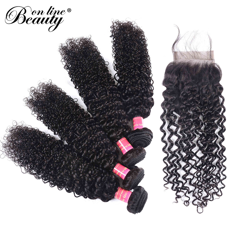 Beauty On Line Brazilian Kinky Curly Natural Color 4 Bundles With Closure 4*4 inch Remy Human Hair Weave 8-28 Inch