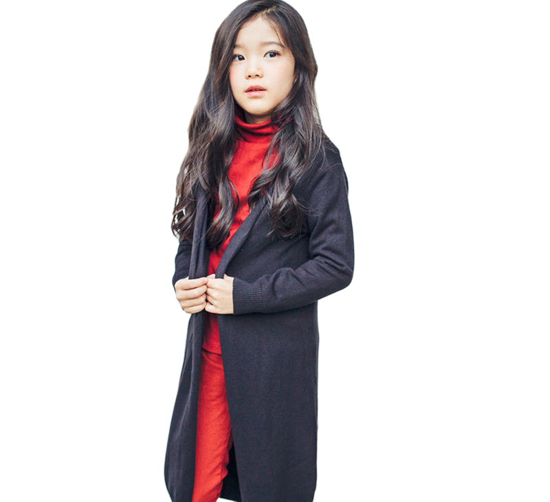 Kids Girls Long Cardigan Sweaters 2018 New Arrival Knitted Cotton Cardigan Autumn Winter Outwear Clothes For 3-13Years GW42 knitted rib cuff zip up graphic cardigan