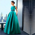 2017 Latest Design Spring Emerald Green Prom Dresses Long A-line Ruched Skirt Satin Formal Evening Gown Robe De Soiree