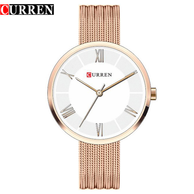 CURREN Brand Fashion Wristwatches Women Stainless Steel Band Women Dress Watches Women Quartz-Watch Relogio Feminino New Gold