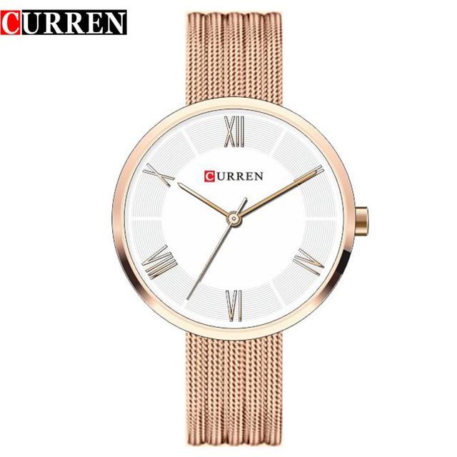 CURREN Brand Fashion Wristwatches Women Stainless Steel Band Women Dress Watches Women Quartz-Watch Relogio Feminino New Gold