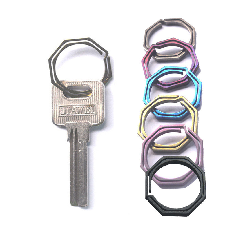 6 Colors 20mm Titanium EDC TC4 Key Chain Ring EDC Copper Handmade Buckle Keychain Men Key Holder Metal Car Octagon Keyring CNC
