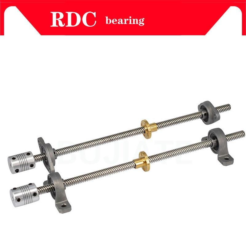 High quality T8 Lead screw 1000 mm 8mm + brass copper nut + KP08 or KFL08 bearing Bracket +Flexible Coupling for 3D printer&CNC цена