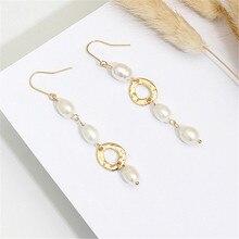 Retro fashion earring ms natural freshwater pearl metal delicate earrings geometry new wholesale