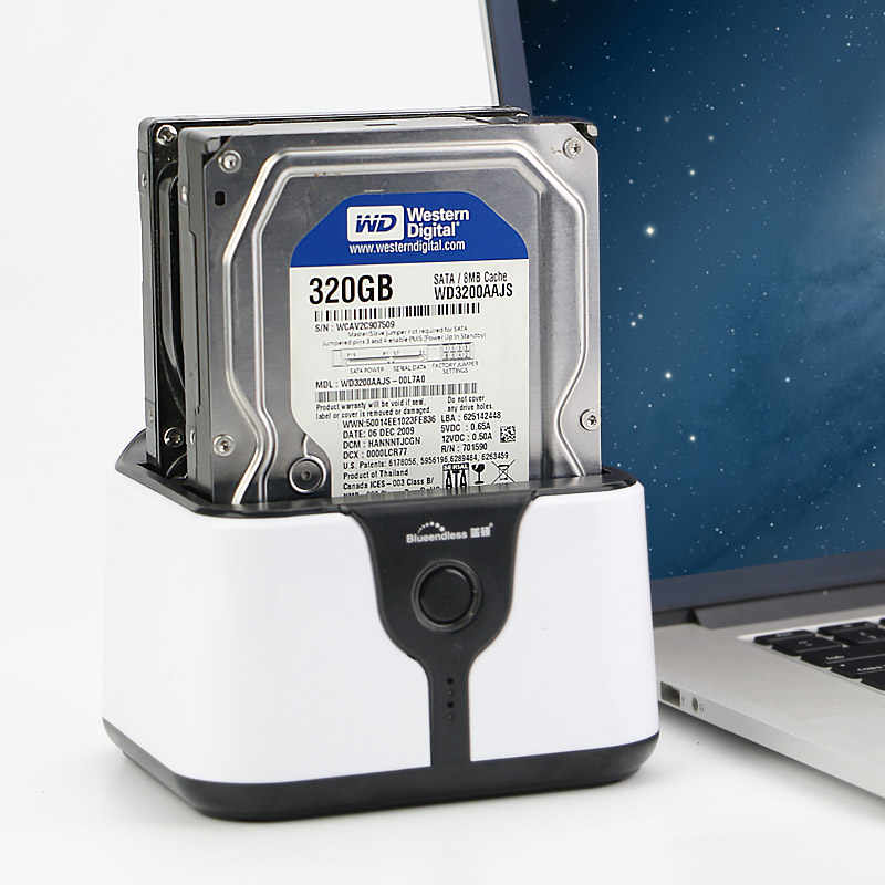 Hdd استنساخ محطة 2 خليج إلى SATA ssd صندوق hd 3.5 ''2.5 بوصة قالب أقراص صلبة 4 تيرا بايت لكل خليج usb 3.0 دعوى لمحطة hdd ssd blueendless