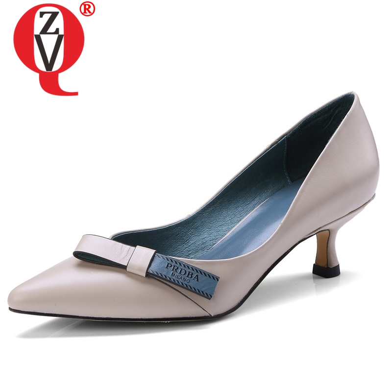 ZVQ 2019 spring newest fashion sxey high quality genuine leather women pumps pointed toe high thin heels shallow bowties shoesZVQ 2019 spring newest fashion sxey high quality genuine leather women pumps pointed toe high thin heels shallow bowties shoes