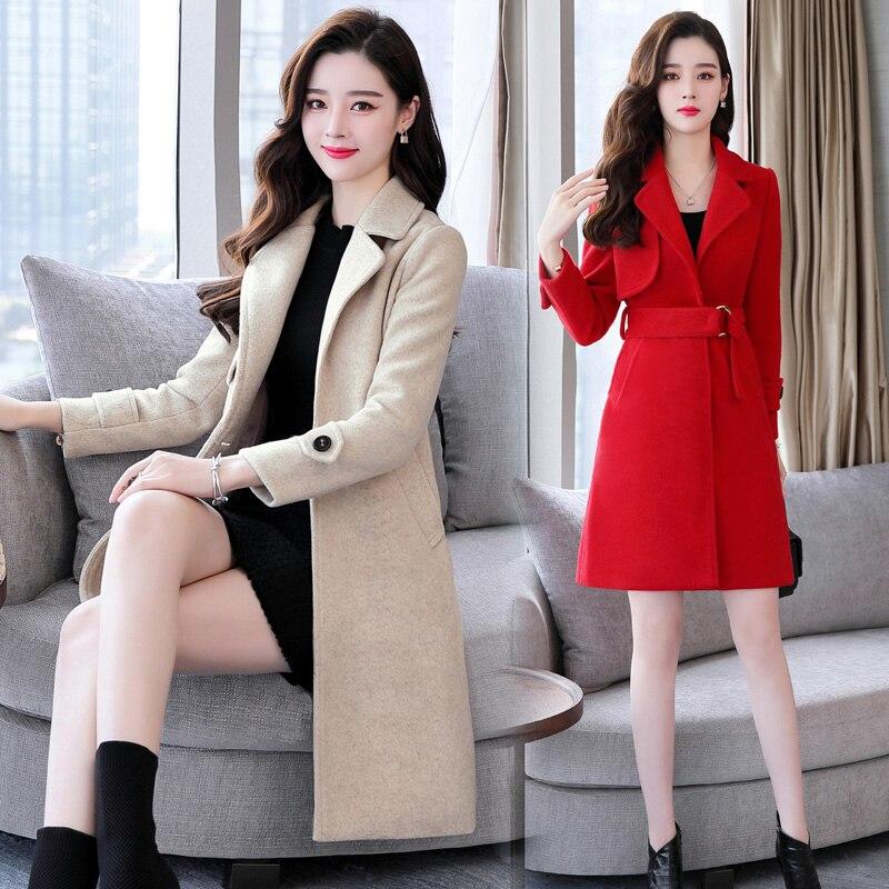 2018 rouge Mao Version Long Laine Manteau Taille De Corps Et Femme vert Ceinture Mince Hiver Beige Réparation Coréenne Nouveau noir Automne zzR7S